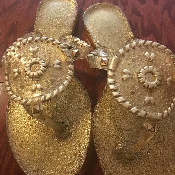 20e84f65e93a Jack Rogers Shoes - Jack Rogers gold sparkle Georgica Jelly Sandal 9